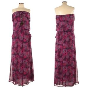 Kirra Peacock Print Maxi Dress Strapless Purple
